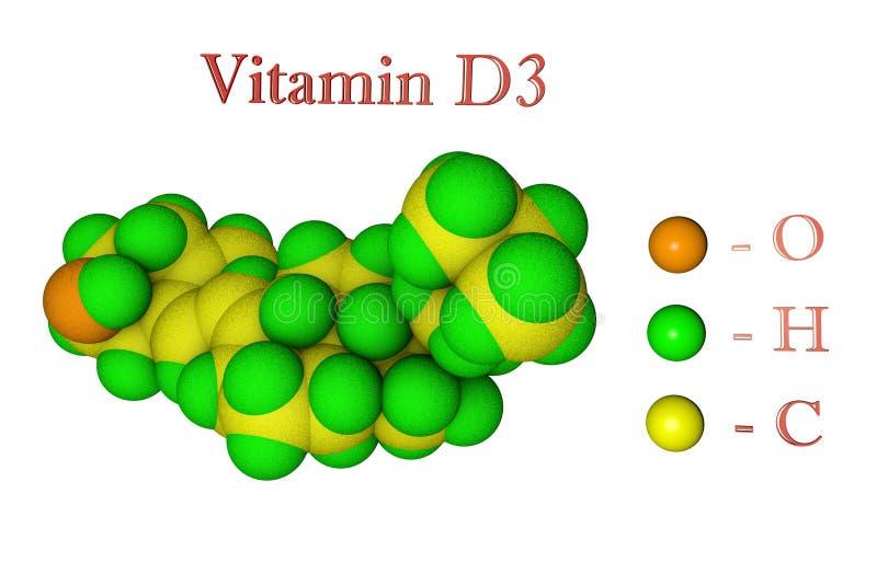 Molecular model of vitamin D3, cholecalciferol. Scientific background. 3d illustration vector illustration