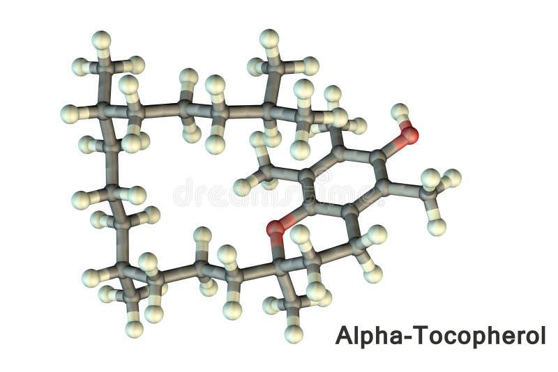 Molecular model of vitamin E, alpha-tocopherol. 3D illustration. A fat-soluble vitamin, it has potent antioxidant properties, inhibits angiogenesis, has anti vector illustration
