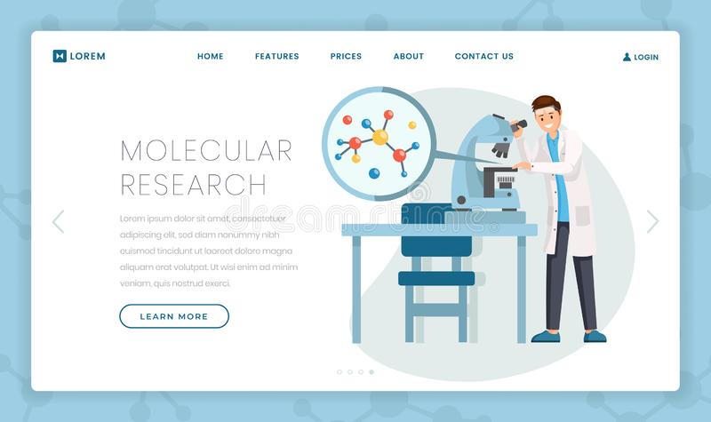 Molecular research flat landing page template. Cartoon scientist studying molecule structure in microscope. Hi-tech lab. Molecular research vector landing page stock illustration