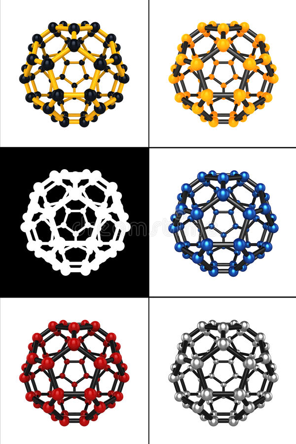Molecular spheres. Set of five molecular spheres stock illustration