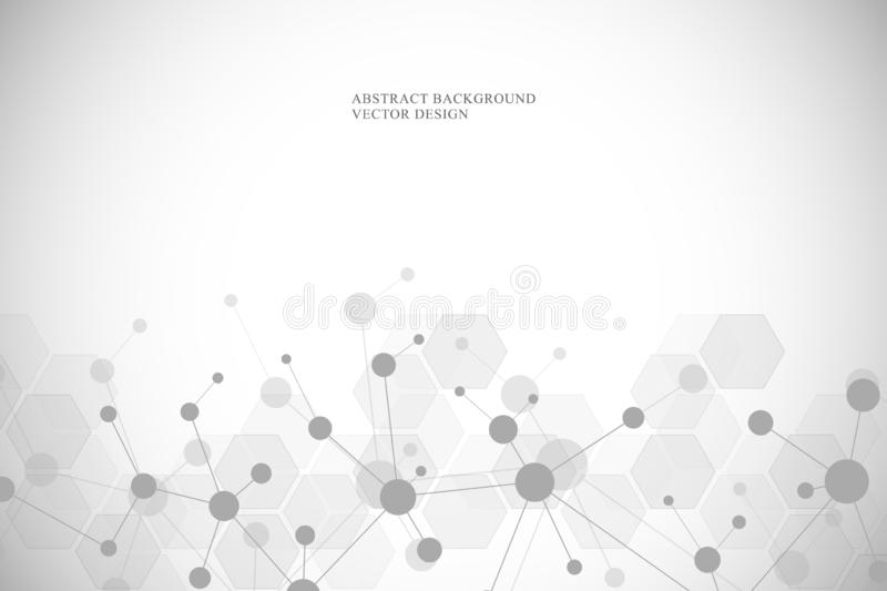 Molecular structure background and communication. Abstract background with molecule DNA and neural network. Medical stock illustration