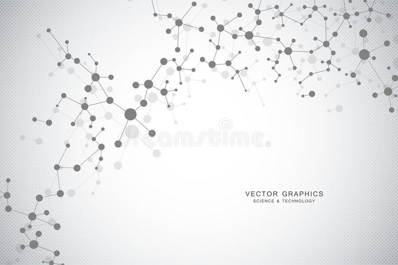 Molecular structure background. Genetic and science research. vector illustration