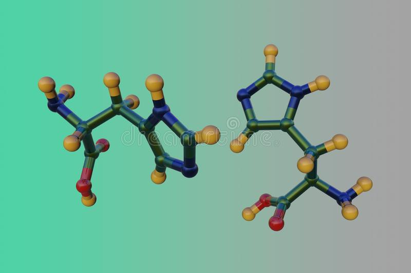 Molecular structure of d-histidine, an optically active form of histidine havind D-configuration. It is used in the. Biosynthesis of proteins. Scientific vector illustration