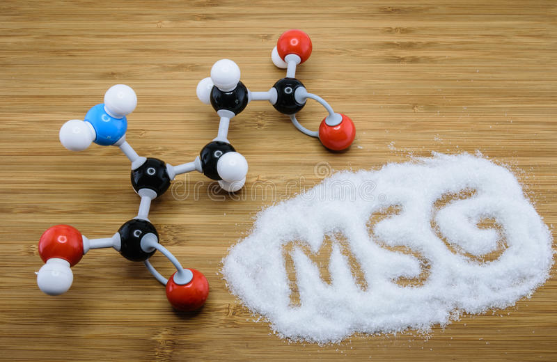 Molecular structure of Monosodium glutamate (MSG) stock photo
