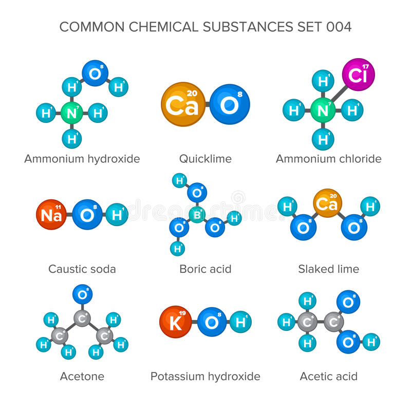 Free Molecular Structures Of Common Chemical Substances Royalty Free Stock Image - 78212426