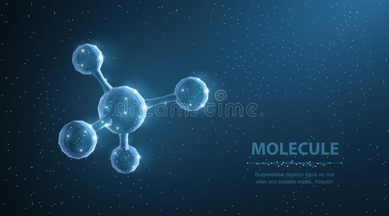 Molecule. Abstract futuristic micro molecule structure with sphere on blue background. royalty free illustration