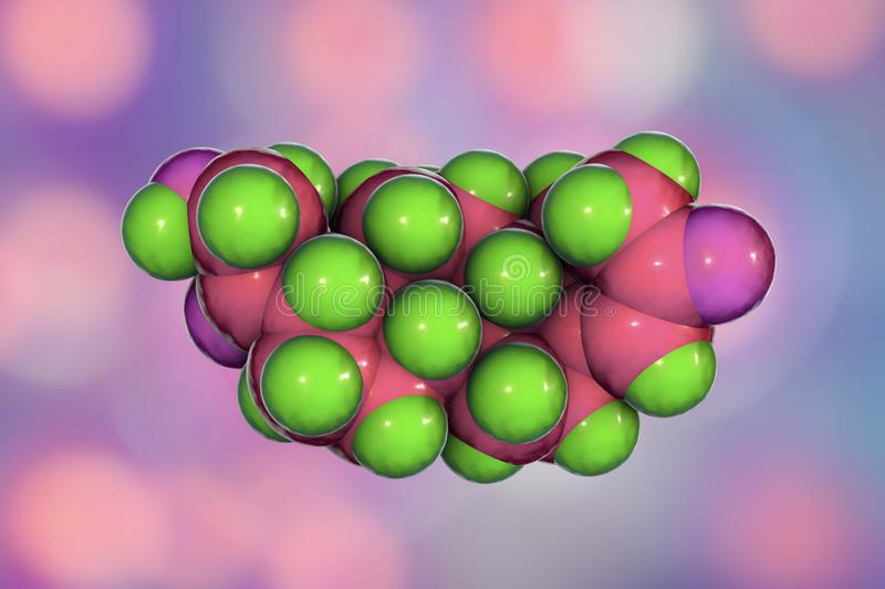 Molecule of aldosterone hormone. 3D illustration. It is mineralocorticoid hormone produced by adrenal gland royalty free illustration