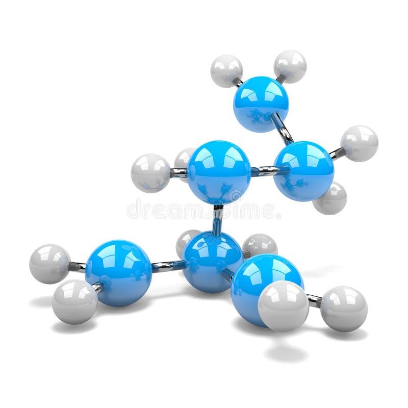 Molecule. Blue and White Molecule on White Background 3D Illustration stock illustration