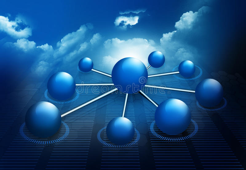 Molecule And business network. On sky background stock illustration