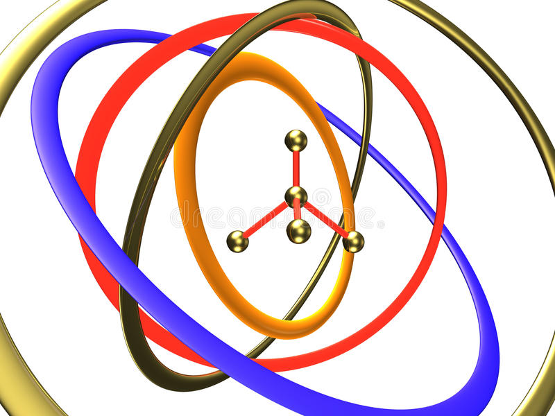 Download Molecule In The Centre Of Orbits Stock Illustration - Image: 13077396