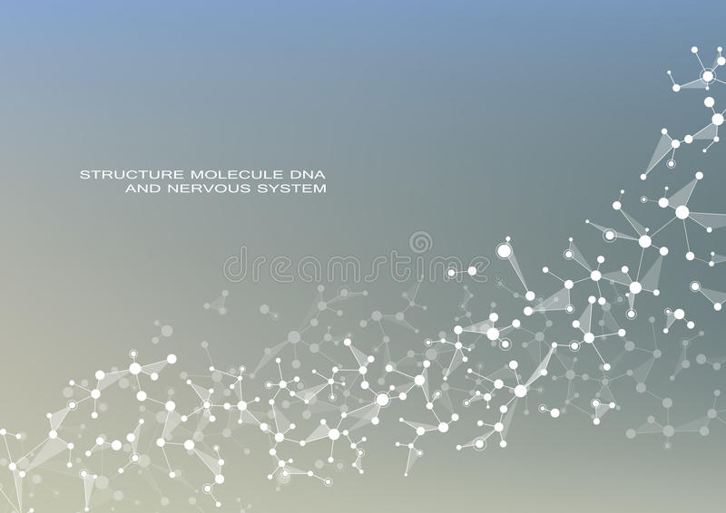 Molecule DNA and neurons vector. Molecular structure. Connected lines with dots. Genetic chemical compounds. Chemistry vector illustration