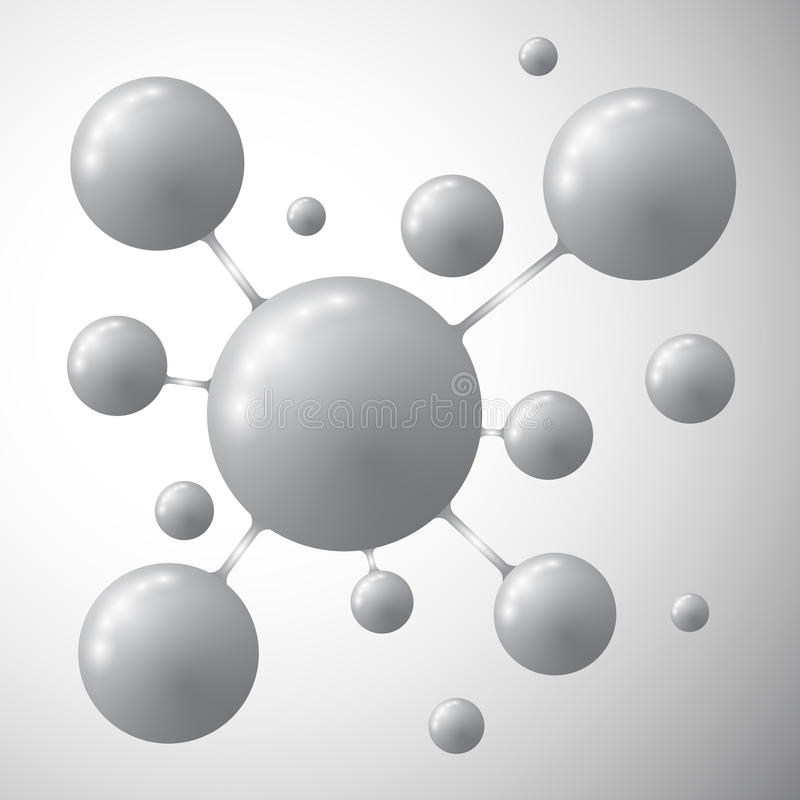 Molecule on a gray background royalty free illustration
