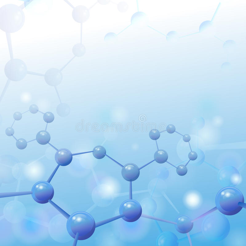 Molecule illustration over blue background with royalty free illustration