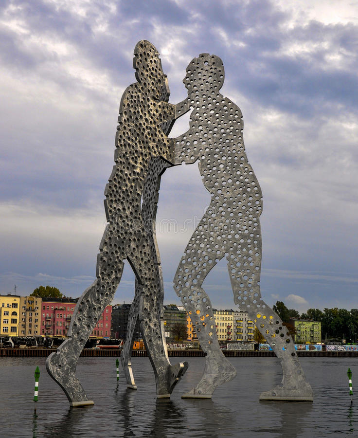 Molecule Man. Is a series of aluminium sculptures, designed by American artist Jonathan Borofsky, installed at various locations in the world, including Berlin stock photo