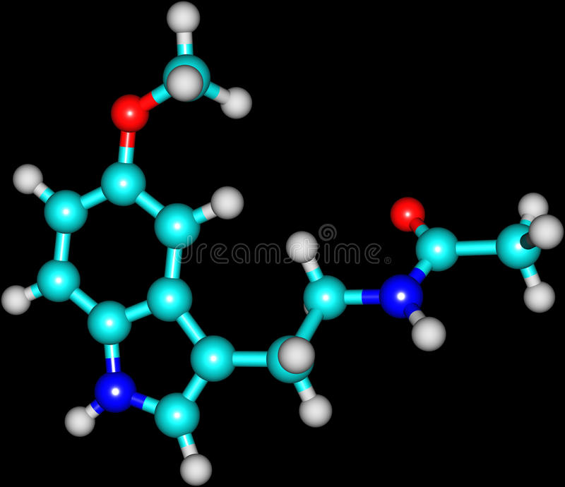 Molecule of Melatonin isolated on black. A structural molecular model of the hormone Melatonin. It is an antioxidant and a regulator of circadian rhythms, one royalty free illustration