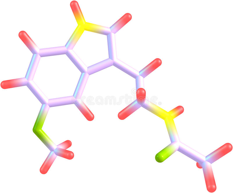 Molecule of Melatonin isolated on white. A structural molecular model of the hormone Melatonin. It is an antioxidant and a regulator of circadian rhythms, one royalty free illustration