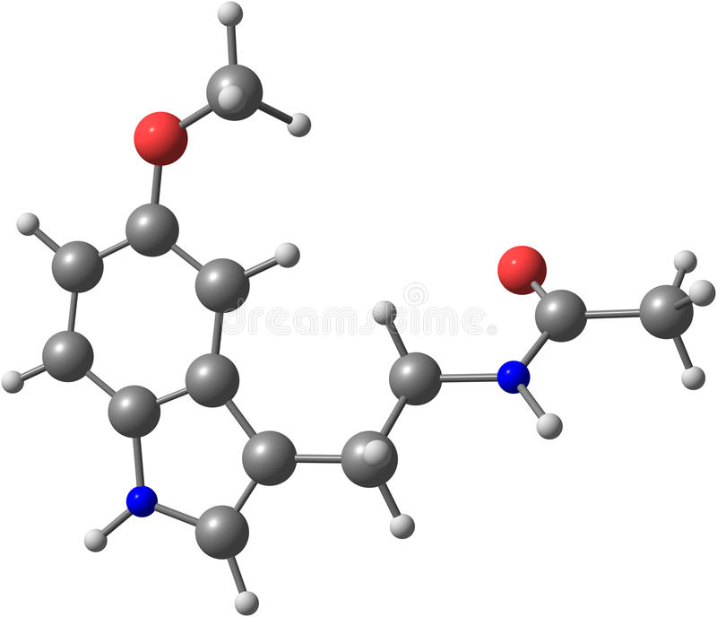 Molecule of Melatonin isolated on white. A structural molecular model of the hormone Melatonin. It is an antioxidant and a regulator of circadian rhythms, one vector illustration