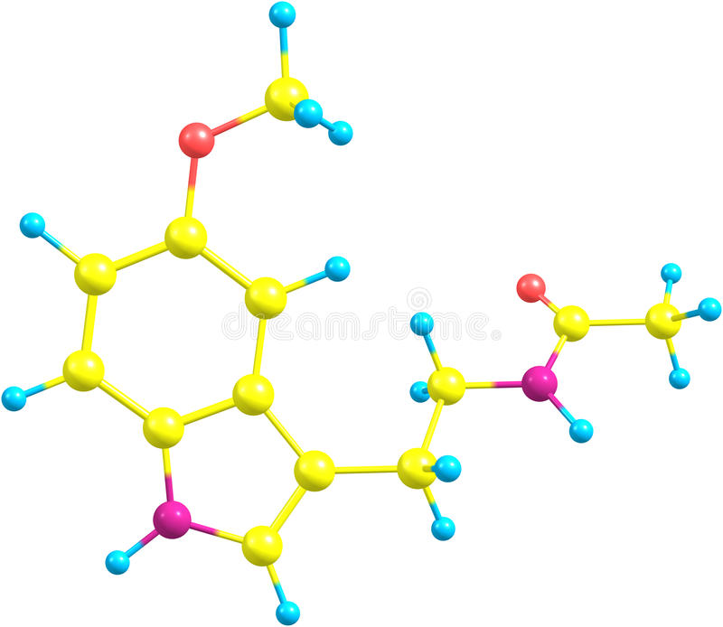 Molecule of Melatonin isolated on white. A structural molecular model of the hormone Melatonin. It is an antioxidant and a regulator of circadian rhythms, one stock illustration