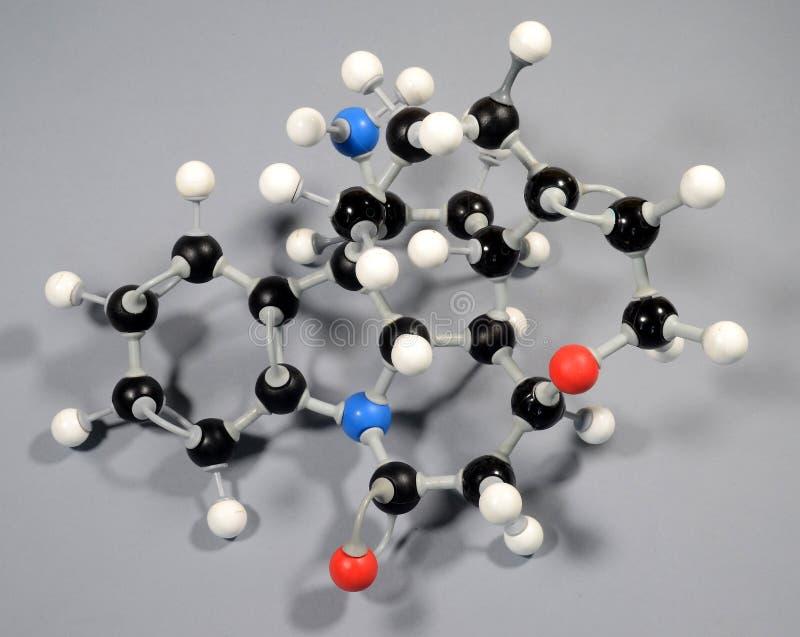 Molecule model of Strychnine. Black is Carbon, Red is Oxygen, White is Hydrogen, Blue is Nitrogen royalty free stock photo
