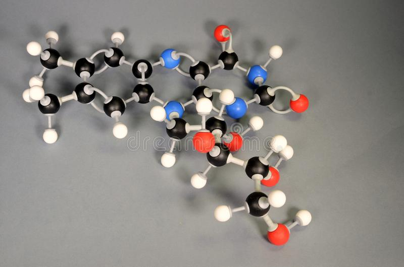 Molecule model of Vitamin B2. White is Hydrogen, black is Carbon, red is  Oxygen,  White is Hydrogen, black is Carbon, red is. Oxygen, and blue is Nitrogen stock photography
