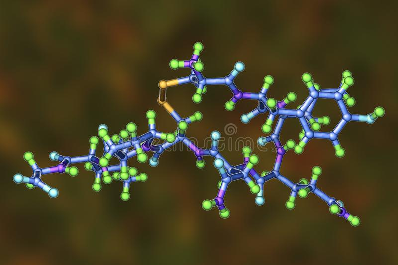 Molecule of oxytocin, a hormone released from the neurohypophysis. 3D illustration. It causes uterine contraction and milk ejection, used in gynecology and royalty free illustration