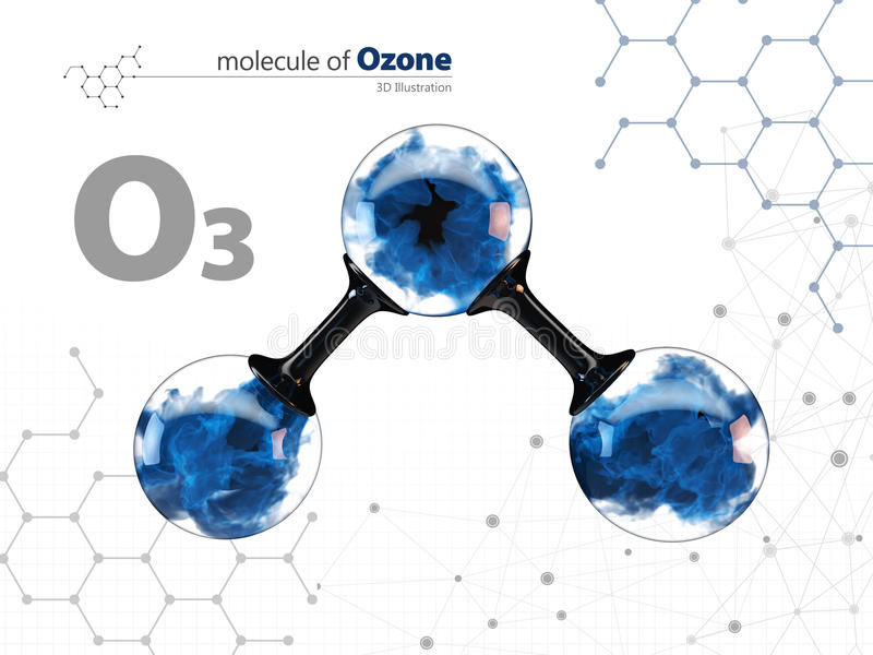Molecule of ozone with with tehnology background, vector illustration