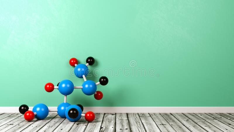 Molecule Shape on Wooden Floor Against Wall royalty free illustration
