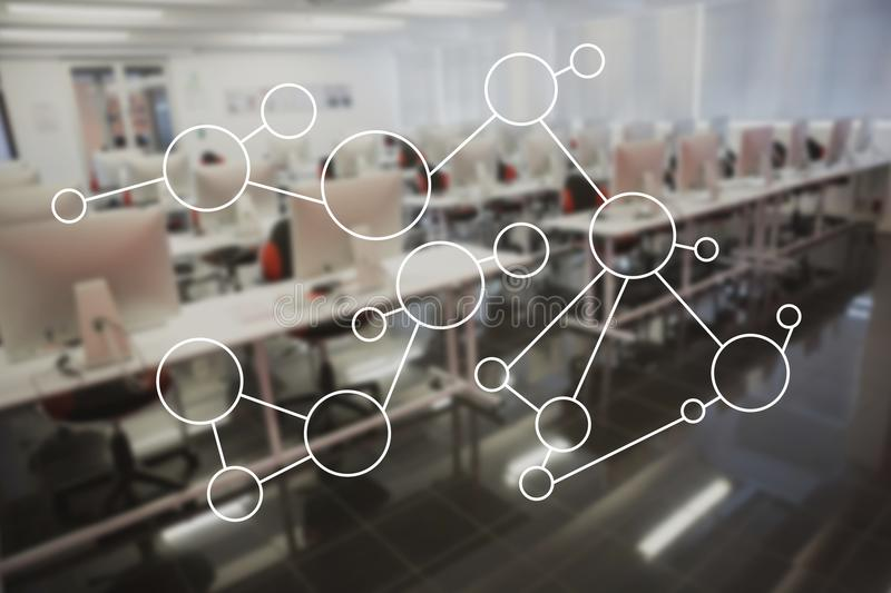 Molecule structure on glass in office stock image