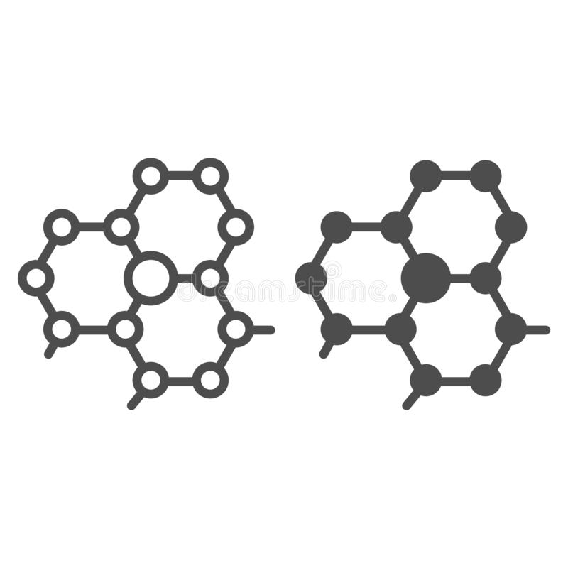 Molecule structure line and glyph icon. Atom connection vector illustration isolated on white. Molecular outline style. Design, designed for web and app. Eps 10 stock illustration