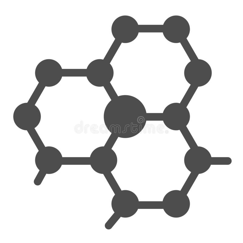 Molecule structure solid icon. Atom connection vector illustration isolated on white. Molecular glyph style design. Designed for web and app. Eps 10 royalty free illustration