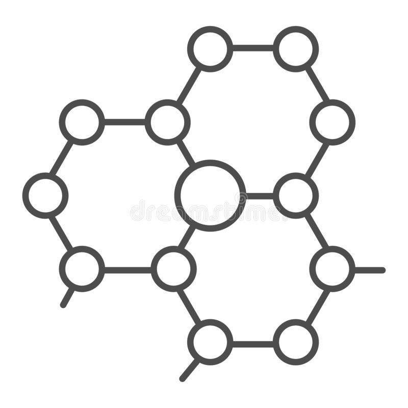 Molecule structure thin line icon. Atom connection vector illustration isolated on white. Molecular outline style design. Designed for web and app. Eps 10 stock illustration