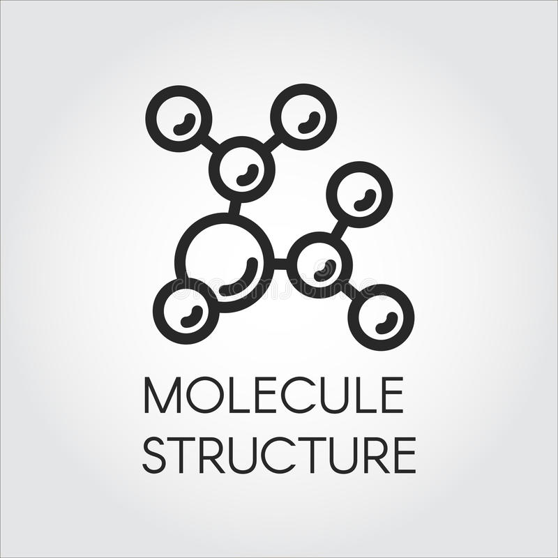 Molecule stucture linear icon. Label of chemical compound for scientific, educational and other projects stock illustration
