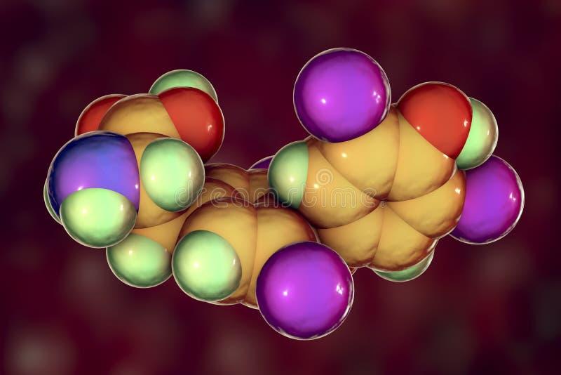 Molecule of thyroxine, a thyroid hormone stock illustration