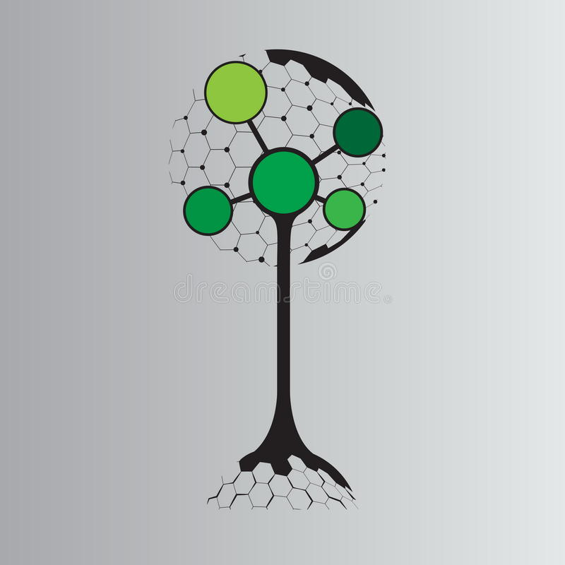 Molecule tree logo concept design. Biotechnology concept with tree and molecule connection vector illustration