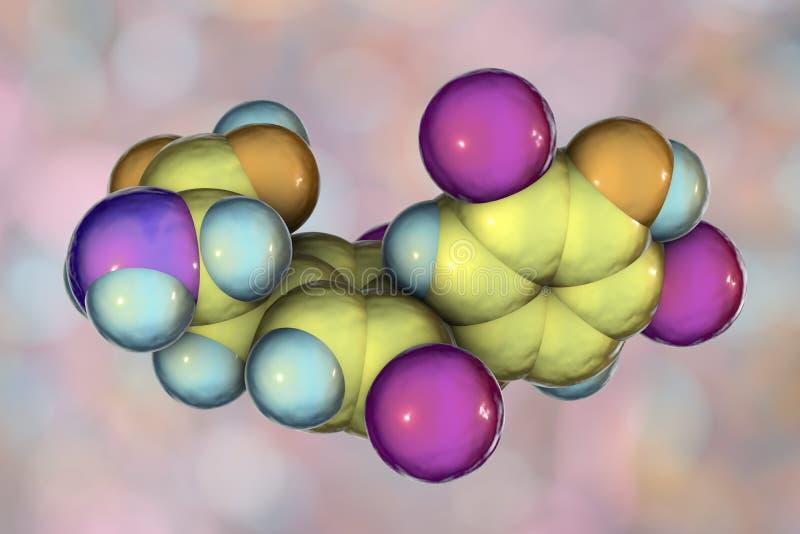 Molecule van thyroxine, een schildklierhormoon stock illustratie