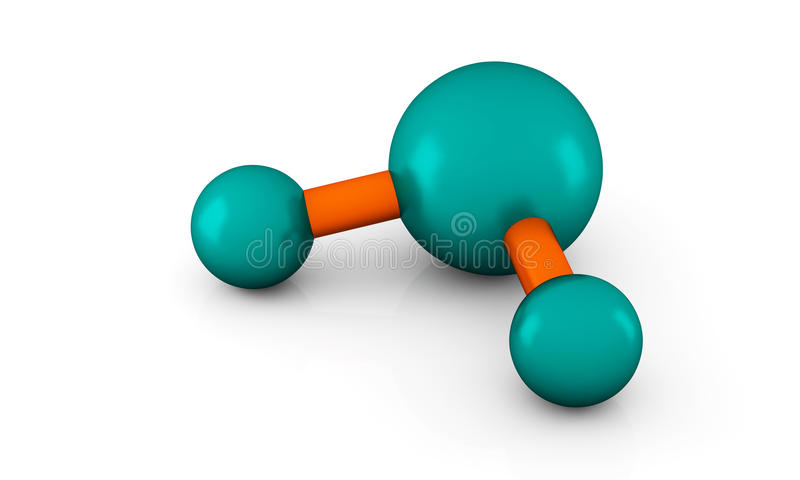 Molecule of water. Isolated 3D model of water Molecule on a white background vector illustration