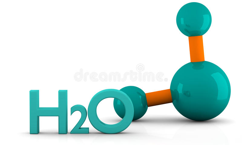 Molecule of water. Isolated 3D model of water Molecule on a white background royalty free illustration