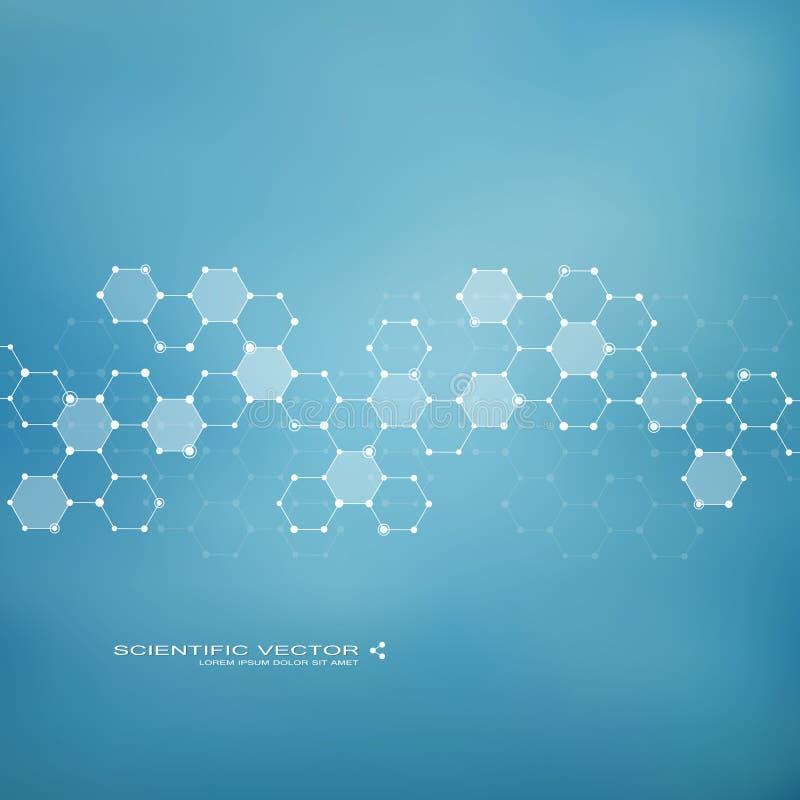 Moleculedna en neuronen Moleculaire structuur Verbonden lijnen met punten Genetische chemische samenstellingen Chemie, geneeskund stock illustratie