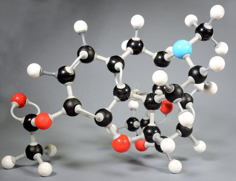 Moleculemodel van heroïne C12H22O11 royalty-vrije stock foto's