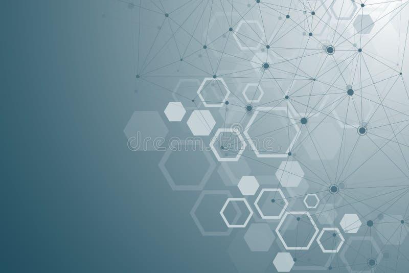 Moleculestructuur met deeltjes Wetenschappelijk medisch onderzoek Wetenschap en technologie backgroud Moleculair concept royalty-vrije illustratie