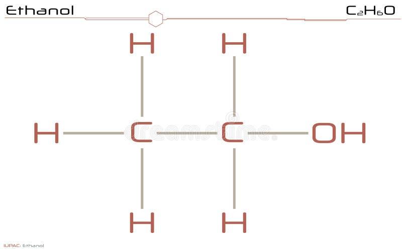 Molekül des Äthanols lizenzfreie abbildung