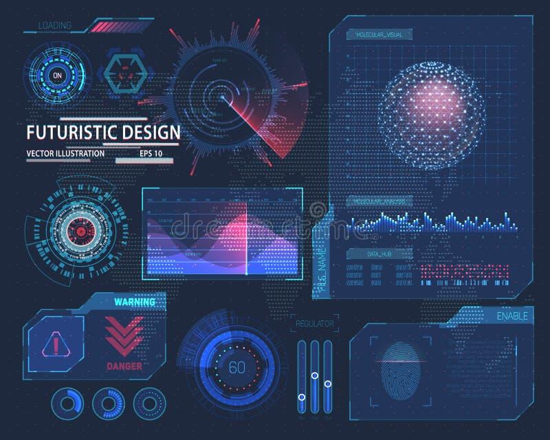 Molekülhologramm und futuristische hud Elemente lizenzfreie abbildung
