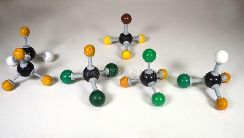Molekülmodelle etwas CFC-Gase benutzt als Kühlmittel lizenzfreies stockbild