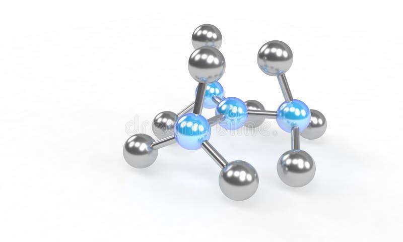 Molekülstruktur auf dem Weiß, 3d übertragen lizenzfreie abbildung