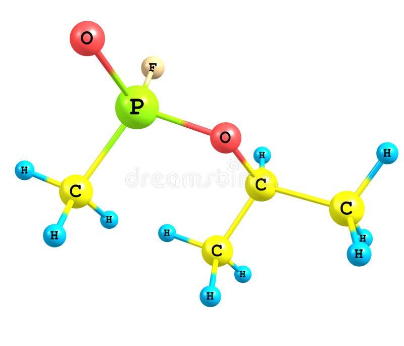 Molekülstruktur von Sarin auf Weiß lizenzfreie abbildung