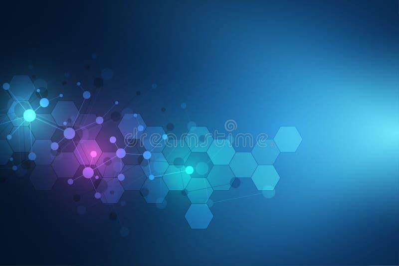Molekülstrukturhintergrund und -kommunikation Abstrakter Hintergrund mit Molekül DNA und neuralem Netz künstlich vektor abbildung