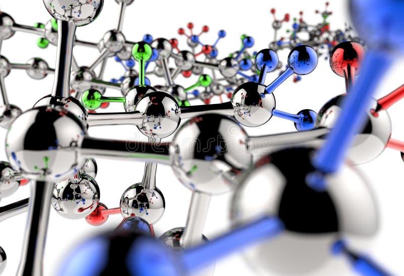 Molekuły 3d tło ilustracji