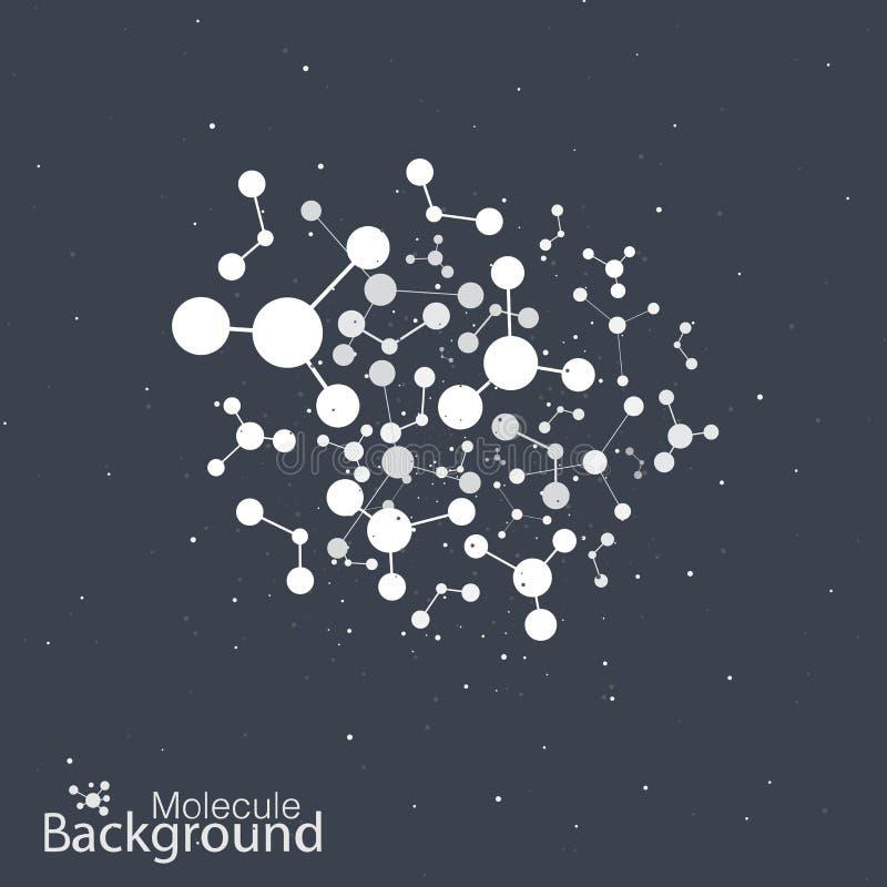 Molekuły dna na czarnym tle ilustracja wektor