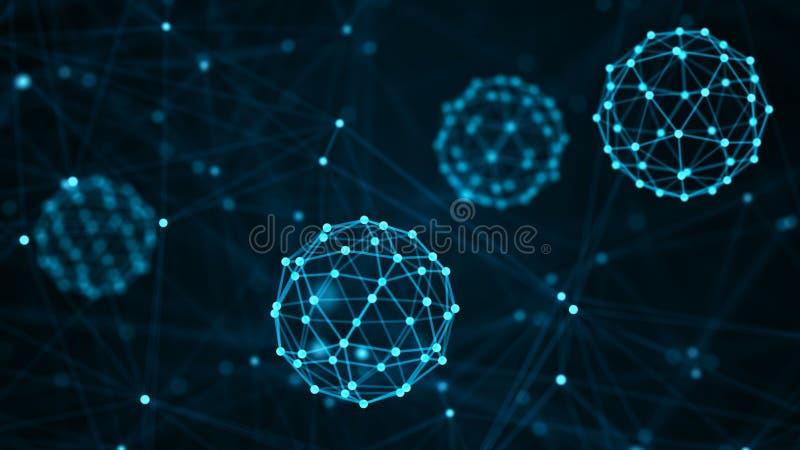 Molekuły pojęcie Abstrakcjonistyczni neurony i układ nerwowy mapy t?a oko medical optometrist ?wiadczenia 3 d ilustracja wektor