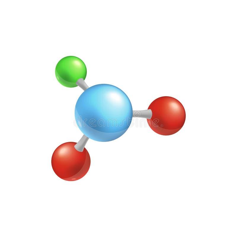 Molekuły struktura z cztery kolorowymi piłkami royalty ilustracja